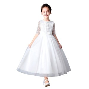 f115c938d9986 子供 ドレス フォーマル 子供服 子ども 女の子 ワンピース ホワイト 白 刺繍 リボン エレガント チュール 発表会 ピアノ 写真撮影 110  120 130 140 (8549)