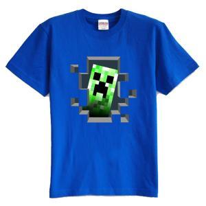 マインクラフト MINECRAFT メンズ Tシャツ (M/L) マイクラ グッズ コスプレ クリーパー・インサイド (ブルー) impactlife55
