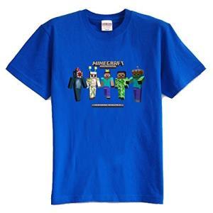 マインクラフト MINECRAFT メンズ Tシャツ (M/L) マイクラ グッズ コスプレ スキン&モンスター (ブルー) impactlife55