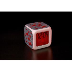 MINECRAFT (マインクラフト) カラフルに光る置時計 目覚まし時計 温度計付き LEDライト ランダム キーホルダーセット (レッドストーン)|impactlife55