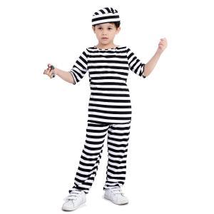 ハロウィンのコスプレ定番囚人服。友達や家族や団体で一緒にわいわい仮装。セットアイテムで全身コスプレ囚...