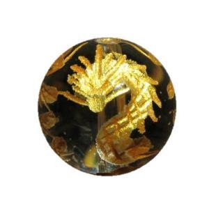 九頭龍 水晶(金色入り)14mm 【彫刻 一粒売りビーズ】 天然石 パワーストーン