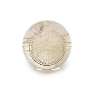 神聖幾何学模様彫りビーズ フラワーオブライフ ルチルクォーツ 12mm 【彫刻 一粒売りビーズ】