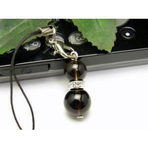 パワーストーン モリオン(黒水晶) ひょうたん ストラップ メンズ・レディース用/厄除け祈願やお守りに ヒョウタン型(瓢箪)の天然石の携帯ストラップ プチギフ