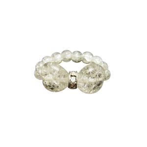 天然石 ハートリボン リング(指輪) クラック水晶 バラ売り パワーストーン プチギフト 転勤 退職...