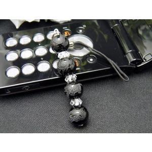 四神獣10mmのオニキス使用 パワーストーンの携帯ストラップ...