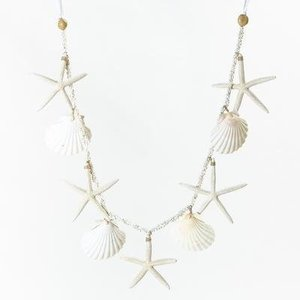 Pukana ハワイアン starfish ヒトデ & モンゴシェル ガーランド ホワイト PUMR-1503|imperialsurf