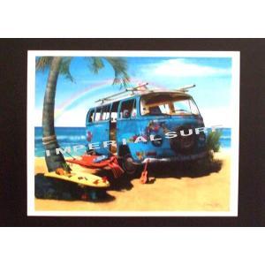 人気のハワイアンポスター 「ワーゲン・バス」と「サーフボード」 hawaiianposter サーフィン&車 imperialsurf