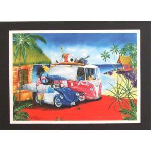 人気のハワイアンポスター波を楽しむサーファー達 hawaiianposter サーフィン&車 imperialsurf
