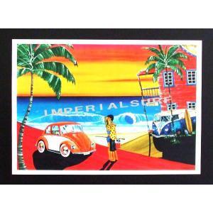 人気のハワイアンポスター ビートルでオールドアメリカンな雰囲気 hawaiianposter サーフィン&車 imperialsurf