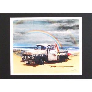 人気のハワイアンポスター古いピックアップトラックとレインボーがいい感じ!! hawaiianposter サーフィン&車 imperialsurf