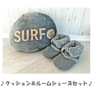 Pukana プカナ クッション & ルームシューズ セット グレー PUAM-1640B  アロハ柄人気ブランド imperialsurf