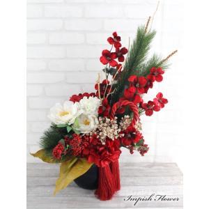お正月飾り 造花 和 アレンジ モダン アーティフィシャルフラワー  B-344|impish