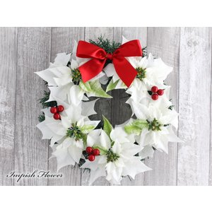 クリスマスリース 造花 クリスマス リース  壁掛け W-293|impish