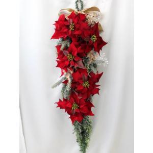 クリスマスリース 造花 クリスマス リース  ポインセチア 壁掛け スワッグ   W-372|impish