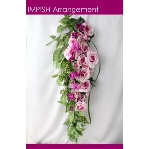 造花 リース アートフラワー  壁掛け シルクフラワー アレンジメント  W-410|impish