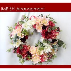 造花 リース 壁掛け アートフラワー インテリア アレンジメント  W-484|impish