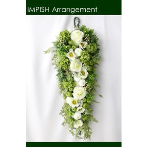 造花 リース 壁掛け アートフラワー インテリア アレンジメント  W-490|impish