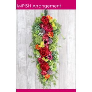 造花 リース 壁掛け アートフラワー インテリア アレンジメント  W-492|impish