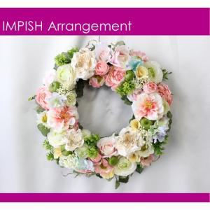 造花 リース 壁掛け アートフラワー インテリア アレンジメント  W-496|impish