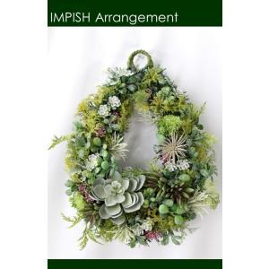 造花 リース 壁掛け インテリアグリーン フェイクグリーン W-498|impish