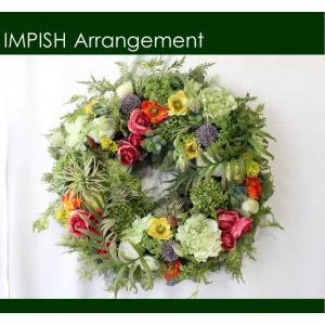 造花 リース 壁掛け グリーン インテリア アレンジメント  W-505 特大|impish