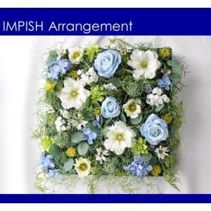 造花 リース 壁掛け アーティフィシャルフラワー インテリア 四角  W-509|impish