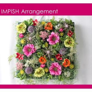 造花 リース 壁掛け アーティフィシャルフラワー インテリア 四角  W-510|impish