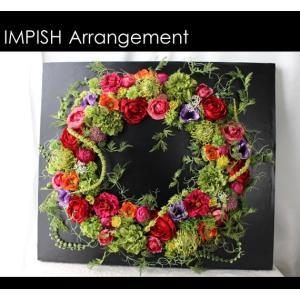 造花 リース 壁掛け アーティフィシャルフラワー インテリア 四角  W-518|impish