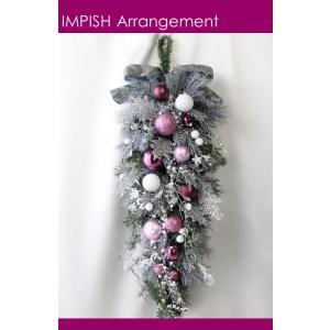 クリスマスリース 造花 クリスマス リース  壁掛け スワッグ   W-525|impish