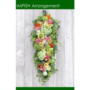 造花 リース 壁掛け アートフラワー インテリア アレンジメント  W-531|impish