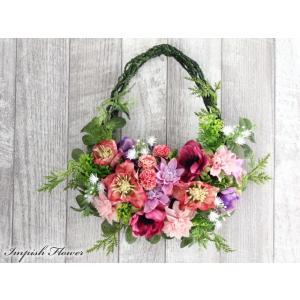 フェイクグリーン リース 花 玄関 インテリア  造花  W-585 かわいい 母の日 特集|impish
