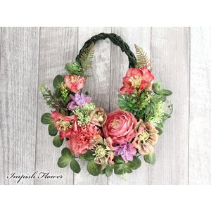 フェイクグリーン リース 花 玄関 インテリア  造花  W-586 かわいい 母の日 特集|impish