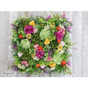 造花 リース 壁掛け アーティフィシャルフラワー インテリア 四角  W-591|impish