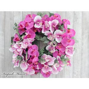 胡蝶蘭 リース 壁掛け 造花 豪華 アレンジメント  W-624|impish
