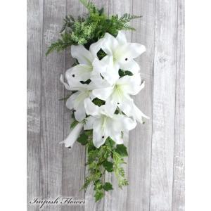 リース 玄関 造花  カサブランカ インテリア フラワーアレンジメント W-629|impish