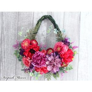 リース 花 玄関 インテリア  壁掛け 造花  W-631 かわいい|impish