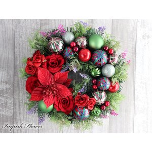 クリスマスリース 玄関 造花 クリスマス リース アートフラワー ポインセチア W-665 impish