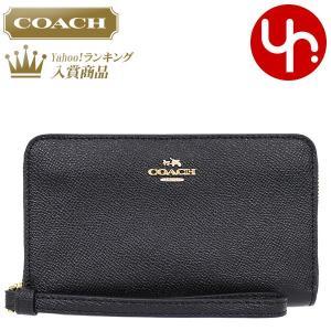 コーチ COACH 財布 二つ折り財布 F58053 ブラック ラグジュアリー クロスグレーン レザー ジップ フォン ウォレット アウトレット レディース|import-collection-yr