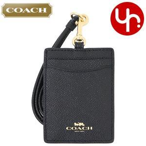 コーチ COACH 小物 カードケース F57311 ブラック ラグジュアリー クロスグレーン レザー ランヤード ID ケース アウトレット レディース|import-collection-yr