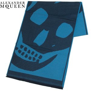 アレキサンダーマックイーン ALEXANDER MCQUEEN マフラー ビッグスカル 定番 ネイビー×ブルー 297044-4200Q-4169 ネイビー×ブルー