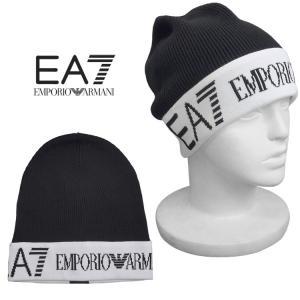 エンポリオ アルマーニ EMPORIO ARMANI メンズ ニット帽 エンブレム ツートン 275722-7A393-00020 BLACK|importbrand-jp