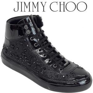 ジミーチュウ JIMMY CHOO スタースタッズ X クリスタル付き Black ファイングリッター・ハイカットスニーカー ARGYLE-FGX-BLACK|importbrand-jp