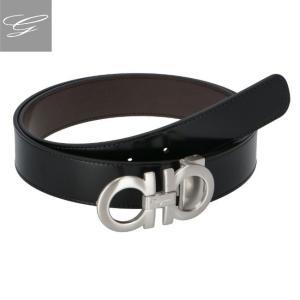 フェラガモ/FERRAGAMO メンズ カーフスキン メンズベルト ブラック×ダークブラウン  675542-0001-0040|importbrandgrace
