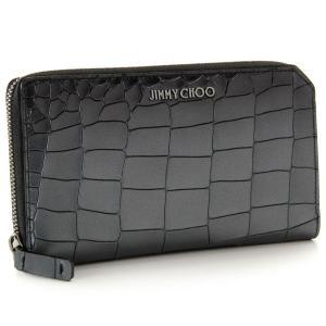 ジミーチュウ/JIMMY CHOO 財布 メンズ 型押しカーフレザー ラウンドファスナー長財布 メタリックダークグレー CARNABY-MCO-0083|importbrandgrace