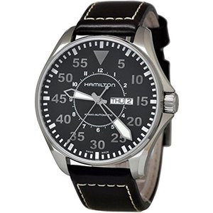 ハミルトン Hamilton Khaki Pilot Black Dial Leather Stra...