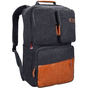 WITZMAN Men Travel Backpack Vintage Laptop Bag Rucksack Casual Convertible Daypack (6617 black)【並行輸入品】 importdvd-com