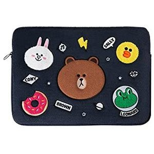 LINE FRIENDS Laptop Sleeve - BF Character 15 Inch Laptop Case Cover, Navy【並行輸入品】 importdvd-com