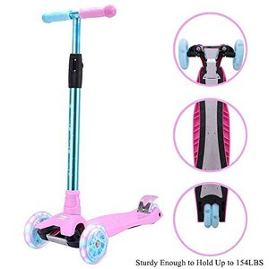 Adjustable Height KEDA-GO Kids Kick Scooter Ages 6-12 Wide Deck with LED Light up Wheels