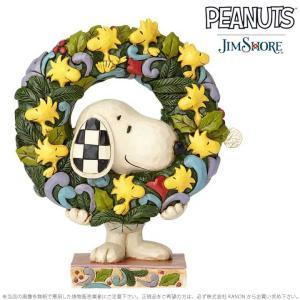 ジムショア スヌーピーとウッドストックのリース クリスマス チャーリー ブラウン 6000984 Jim Shore Snoopy With Woodstock Wreath importfan